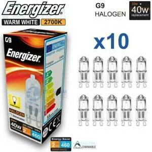 10 X ENERGIZER G9 33W (40W) DIMMABLE Halogen bulb 460lu Warm White Capsule Lamp