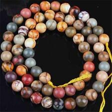 8MM PICASSO JASPER STONE ROUND BALL LOOSE BEAD 15'' Long AAA ##QF047