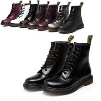 Women's Martin Boots Military Combat Ankle Shoe Casual Leather Low Heel Lace-Up