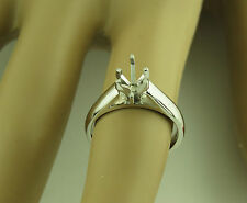 1CT Marquise Solitaire ring setting 14K White Gold Mounting