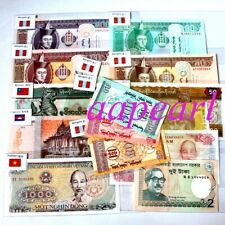 New listing 15 Banknotes 100% real paper money With country flag Collections Uncirculated