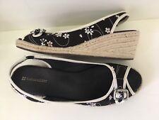 """Naturalizer """"Sherene"""" Sling Back Black Floral Linen Espadrilles Wedge Heels 10.5"""