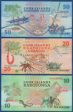 COOK ISLANDS 10 , 20 , 50 Dollars (1992) UNC P. 8 , 9 , 10