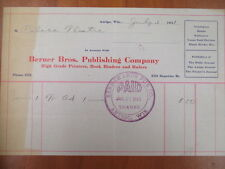 Vintage movie letterhead Berner Bros. publishing co Antigo advertising 7-3-1911