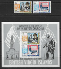 BRITISH VIRGIN ISLANDS , CHURCHILL , S/S & SET OF  2 STAMPS , PERF , VLH