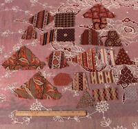 Designer's Collection Of 19thC Madder Dye Paisleys,Geos&Floral Fabric Swatches