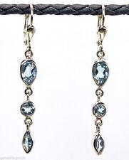 Ohrringe / Ohrhänger Silber 925 / echter Blautopas / Handarbeit