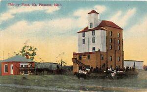 H39/ Mt Pleasant Michigan Postcard c1916 Chicory Plant Factory Wagons
