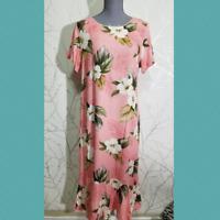 Royal Hawaiian Creations Blush Pink Floral Print Midi Muu Muu Dress | Size L