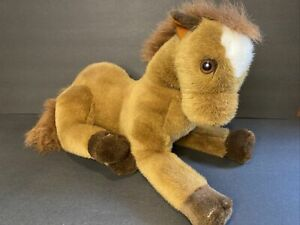 """Kelly Toy Horse Pony 20"""" Long Plush Toy Stuffed Animal Brown White, Realistic"""