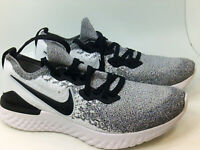 Nike Mens Epic react flyknit 2 Fabric Low, White/Black/Pure Platinum, Size 11.0