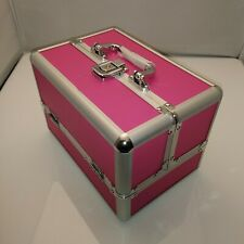Jewellery Box Case Fold Out Compartments Pink & Silver