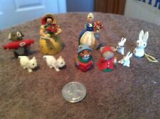 10 Mini Figures 2 Christmas Mice Dated 1990, 2 Rabbits & Women from Germany,
