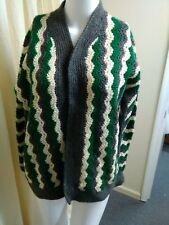 Vintage Hand Crochet Hand Knit Sweater unisex Green Gray And Cream