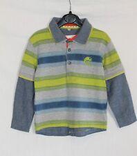 John Rocha Boys Blue Grey Green Striped Long Sleeved Polo Shirt age 3-4 Years