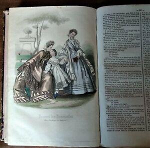 MODE JOURNAL DES DEMOISELLES 1862 - GRAVURES NOIR ET BLANC ET COULEUR