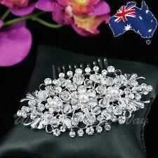 SALE Vintage Style Bridal Hair Comb Diamante Crystal Pearl Wedding Formal HC-2