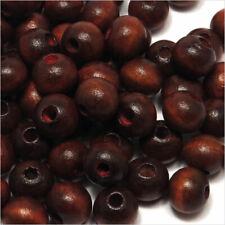 Lot de 100 Perles Rondes en Bois 8mm Rouge-Brun