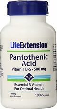 Life Extension Pantothenic Acid Vitamin B-5 -- 500 mg - 100 Capsules