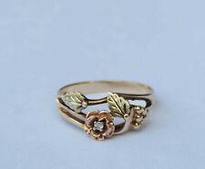 Ladies Genuine Diamond Rose Ring - 10 Karat Yellow, Rose, and Green Gold