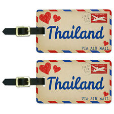 Air Mail Postcard Love for Thailand Luggage Suitcase Carry-On ID Tags Set of 2