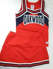 "Oakwood Orange Cheerleader Uniform Outfit Fun Costume 34"" Top Elastic Skirt"