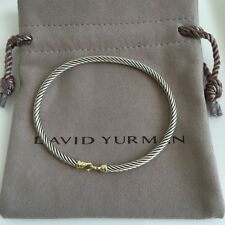 David Yurman $450 NEW Cable Buckle Bracelet w Gold, 3mm, AUTHENTIC, B09543S8 NWT