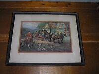 Vintage Osborne Co. OLD TIME HOSPITALITY British Cottage Horse Carriage Hunting