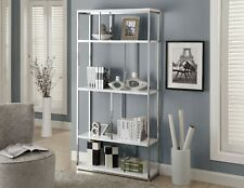 "Monarch Specialties  Bookcase 72""H / Glossy White With Chrome Metal"