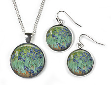 IRISES Vincent Van Gogh - Set: Pendant, Chain & Earrings-Glass Picture Jewellery
