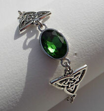 BRACELET DARK SILVER PLATED TRI CELTIC KNOTS & FACETED GREEN GLASS CRYSTAL OVAL