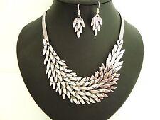 Chunky Silver Layered Leaf Feathered Necklace & Earring Set Designer Style Boho