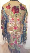 VTG 20's 30's 60's SILK VELVET EMBROIDERED GOWN PEACOCK FLOWERS - 36'' 38'' 40''