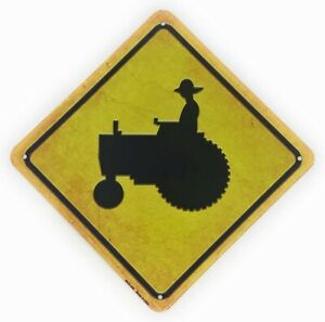 """TRACTOR Xing 8.5"""" Mini Novelty Aluminum Crossing Sign for Wall"""