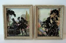 Pair (2) Vintage Silhouette Framed Pictures- Victorian Man/Woman Courting