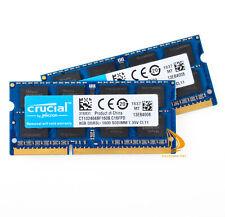 Lote crucial 16GB 8GB 2Rx8 PC3L-12800S DDR3-1600Mhz 1.35V Sodimm Memoria Ram Intel