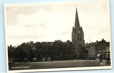 *Old Classic Cars Kyrkan Halmstad Sweden RPPC Vintage Real Photo Postcard C91