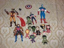 Marvel Comics Action Figures Lot Wolverine Captain America Gambit Bobble Heads