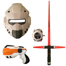 Light-Up Weapon Set Space Wars Gun Blaster Sword Mask Disc Shooter Toy Gift Set