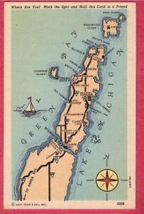 Door County WI peninsula PC map 1946 Green Bay Sturgeon Egg Harbor Chambers Isle