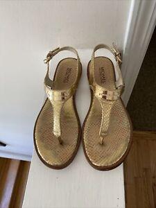 MICHAEL Michael Kors Snake Gold Embossed Logo Plate Thong Sandals size 9.5