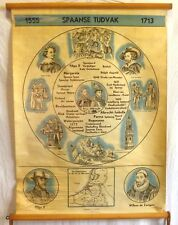 VINTAGE ROLL SCHOOL HISTORY HOLLAND YEARS 1555-1713 ANTIQUE POSTER 65x86Cm