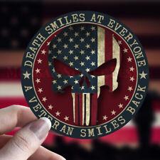 American Flag Punisher Veteran Round Vinyl Decal Sticker Military