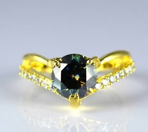 4.09 Ct  Green Diamond Solitaire 925 Silver Gold Finish Halo Ring