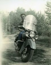 Great Photo of 1948 Indian Chief Motorcycle Hand Color Tinted Republic MI LOOK