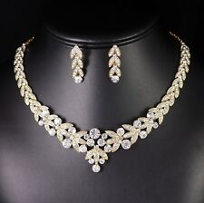 Floral Clear Rhinestone Crystal Necklace Earrings Set Bridal Prom Gold N20g