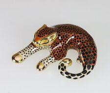 14k ITALIAN ARTFORM ENAMEL OOAK LEOPARD PANTHER CAT KITTY ANIMAL SLIDE PENDANT