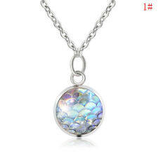 #1 Charm Women's Mermaid Fish Scale Charm Pendant Silver Chain Necklace Jewelry