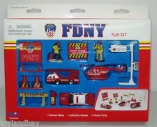 FDNY 13 Piece Playset Ladder Truck Chief Car Helicopter Firemen & Signs Mint