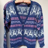 Northern Isles Womens Ramie Cotton Christmas Cardigan Sweater Sz Small WPL 12391